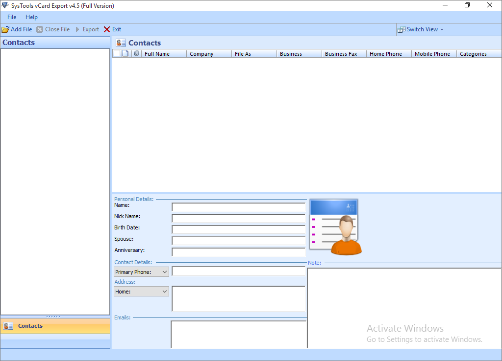 vCard Export Software : Reliable & Versatile Utility to